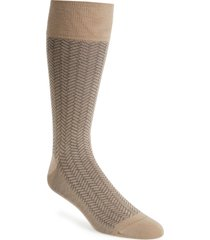men's cole haan geometric dress socks, size one size - brown