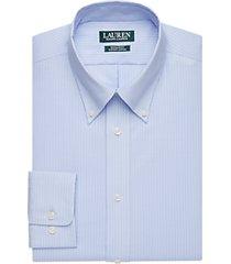 lauren by ralph lauren blue stripe regular fit dress shirt