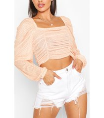 ruched front spot print top, mustard
