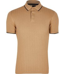 river island mens beige textured slim fit polo shirt