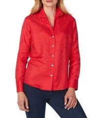 women's foxcroft gracey wrinkle-free animal jacquard shirt, size 4 - purple