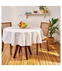toalha de mesa redonda lepper gabi estampada 155cm cinza