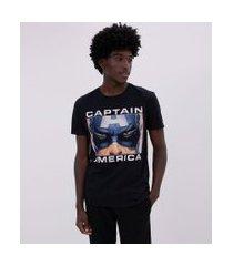 camiseta estampa rosto capitão américa estourado | avengers | preto | p