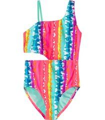 breaking waves big girls 1-pc. tie-dyed one-shoulder cut out swim suit