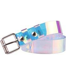 square buckle transparent holography belt