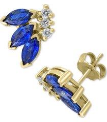 effy sapphire (2 ct. t.w.) & diamond (1/6 ct. t.w.) stud earrings in 14k gold
