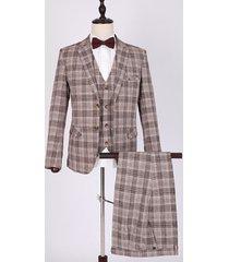 koyye traje de chaqueta de tres piezas con estampado de cuadros de fiesta de negocios para hombre