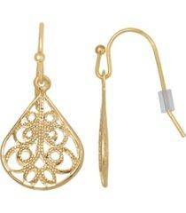 2028 gold-tone filigree drop earring