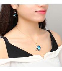 set gioielli a cuore collana orecchini in lega di zinco strass cristallo