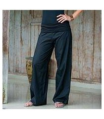 women's wide cotton pants, 'black feminine grace' (indonesia)