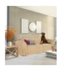 capa para sofá 4 lugares impermeável acquablock protetor resistente cor bege