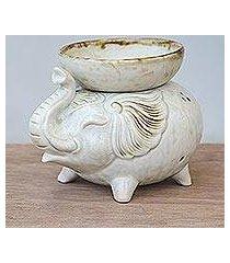 ceramic oil warmer, 'elephant fragrance in white' (thailand)