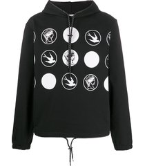 mcq alexander mcqueen two-tone graphic-print hoodie - black