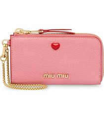 miu miu madras love wallet - pink