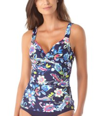 anne cole holiday paisley twist-front underwire tankini top women's swimsuit