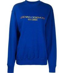 opening ceremony embroidered logo sweatshirt - blue
