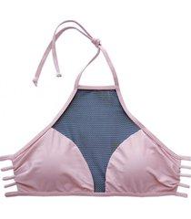 bikini estilo sostén con transparencia rosado samia