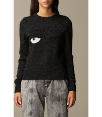 chiara ferragni sweater chiara ferragni pullover in lurex wool with eyes flirting embroidery
