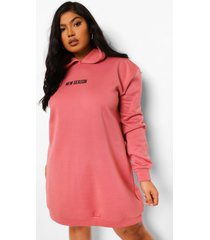 plus new season sweatshirt jurk met capuchon, blush