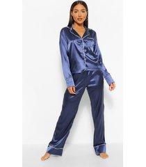 it was all a dream geborduurde satijnen pyjama set, marineblauw