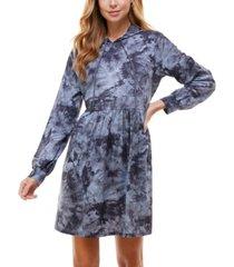 be bop juniors' tie-dyed hoodie fit & flare dress