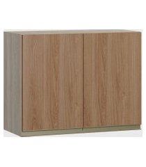 armário 2 portas aveiro/madeira be mobiliário marrom