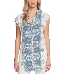 vince camuto printed button-down tunic blouse