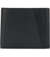 bottega veneta textured embossed-logo wallet - black