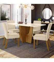 mesa de jantar 4 lugares paula nature/off white/linho - bci móveis