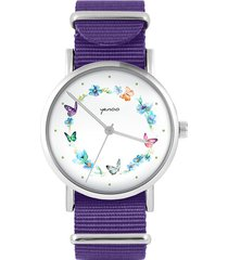 zegarek - kolorowy wianek - fiolet, nylonowy