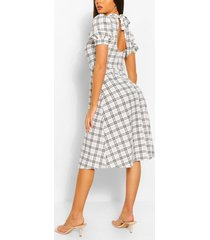 contrast flannel midi dress with open back, white