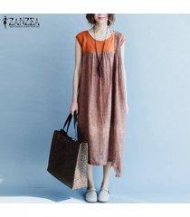 zanzea plus vestido de verano de manga corta para mujer vestido de camisa larga de empalme informal vestido de verano -naranja