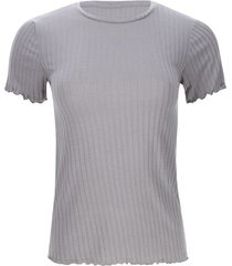 camiseta acanalada con dobladillo color gris, talla 12
