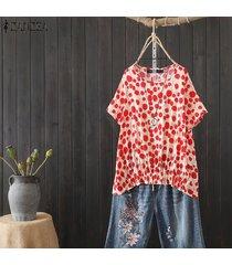 zanzea verano de las mujeres del lunar de manga corta remata la blusa floja ocasional holgados camisas -rojo
