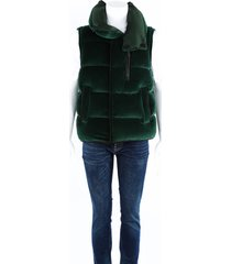 burberry green velour quilted down filled vest men's green sz: s