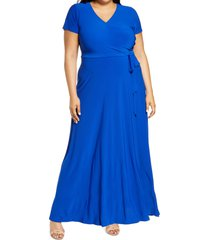 plus size women's eliza j faux wrap dress, size 18w - blue