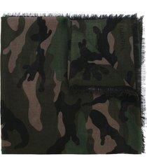 valentino garavani camouflage scarf - green
