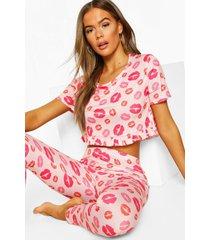 pyjamabroekset met lippenprint en franjes, roze