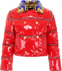 versace puffer jacket with logo bands