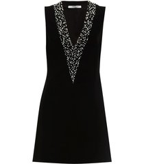 pearl embroidered velvet mini dress