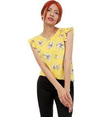 blusa mujer lirios color amarillo, talla s