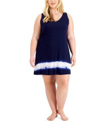alfani plus size v-neck tie-dyed chemise nightgown, created for macy's