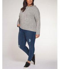 plus size embellished-drawstring hoodie