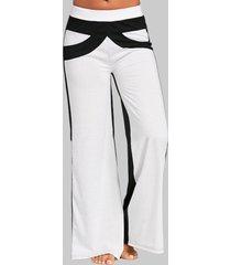 casual a gamba larga a vita alta con patchwork a contrasto di colore pantaloni