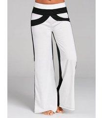 pantaloni casual a gamba larga a vita alta con patchwork a contrasto