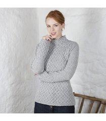 ladies trellis irish sweater gray medium