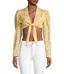 weworewhat women's bisou floral crop top - flowers - size l