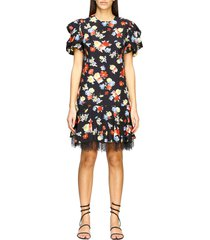 ermanno scervino dress ermanno scervino printed silk dress with lace bottom