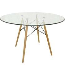 mesa eiffel com vidro incolor base madeira marrom rivatti - marrom - dafiti