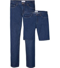 jeans regular fit e bermuda in cotone biologico (set 2 pezzi) (blu) - john baner jeanswear